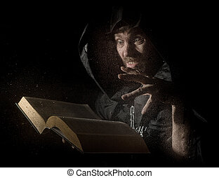 necromancer casts spells from thick ancient book, behind...
