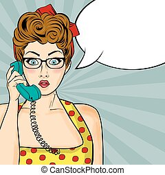 Pop art woman chatting on retro phone . Comic woman with...