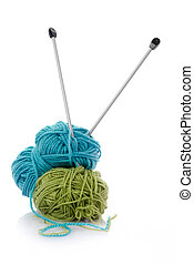 Blue and green knitting wool - Balls of green and blue...