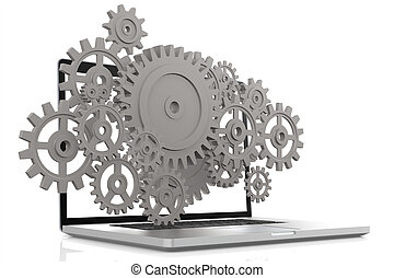 Laptop with gears in white and isolated background, 3D...