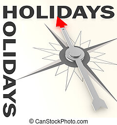 Compass with holiday word isolated