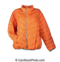 orange jacket isolated over white background closeup