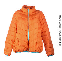 orange jacket isolated over white background closeup