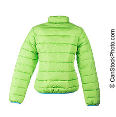 green jacket isolated over white background closeup