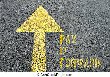 Yellow forward road sign with Pay It Forward word on the asphalt road.