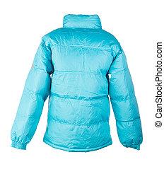 blue jacket isolated over white background closeup