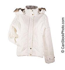 white jacket isolated over white background closeup
