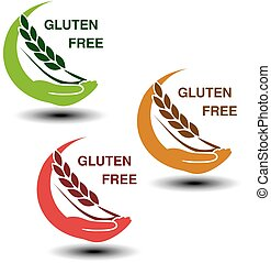 Vector gluten free symbols isolated on white background....