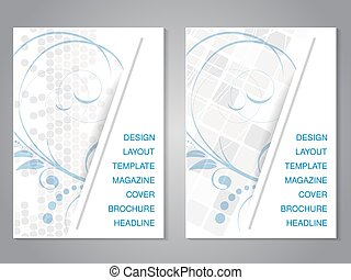 Vector modern brochure with floral design, flyer with grey...