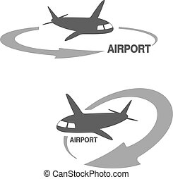 Vector symbol of arrow with flying airplane - icon, symbol...