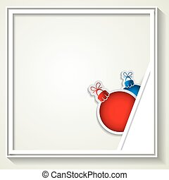 Vector red and blue Christmas balls with frame for advertising photo.