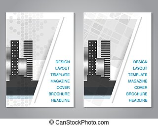 Vector modern brochure with dotted and squared design, flyer...