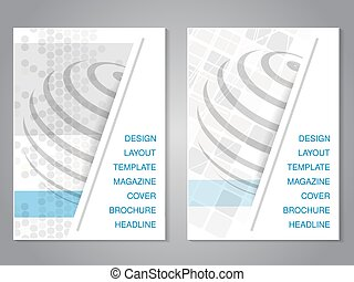 Vector modern brochure with design of globe, flyer with grey...