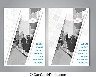 Vector modern brochure with strip design, abstract flyer...