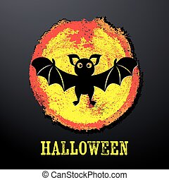 Halloween card with funny bat