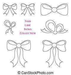 Vector thin line bows collection
