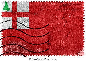 Flag of New England, USA, old postage stamp