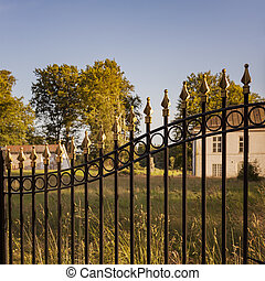 Cast iron fence - Image of decoatice cast iron fence by old...
