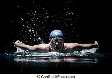 Nade, mujer, nadador, Técnica, profesional, Oscuridad, Plano...