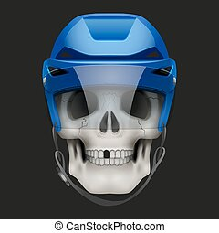 Vector Human skull with ice hockey helmet.