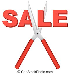 Sale word cut large scissors
