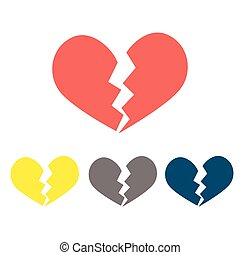 Heartbreak broken heart or divorce flat icon for apps and...