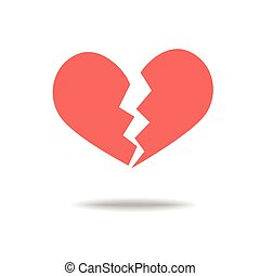 Red heartbreak broken heart or divorce flat icon for apps...