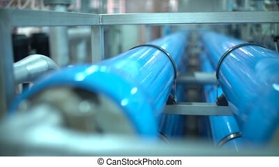 Steel pipes for water supply in the factory. Pure water...