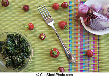 spinaches and tropea onion - flat lay of spinaches and...