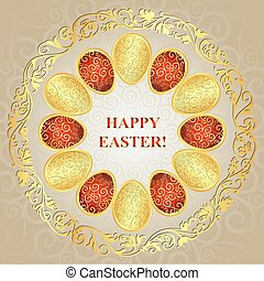 Greeting Card Happy Easter with colorful gradient eggs,...