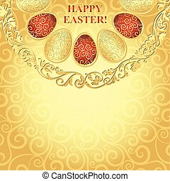 Easter golden frame with gradient lacy eggs, vector eps10
