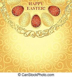 Easter golden frame