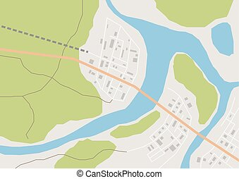 Vector geographical map - Vector flat abstract geographical...