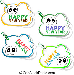 happy new year stickers. creative concept background for Web...