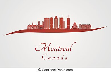 Montreal V2 skyline in red and gray background in editable...
