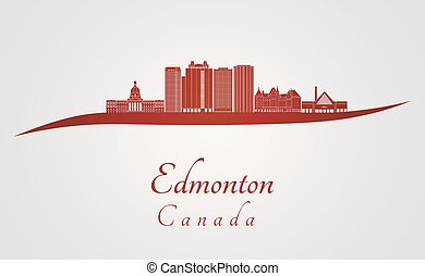 Edmonton V2 skyline in red and gray background in editable...