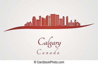 Calgary V2 skyline in red and gray background in editable...