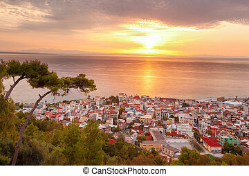 Zante town during sunrise on Zakynthos island in Greece