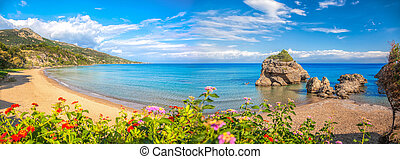 Panorama of Porto Zorro beach against colorful flowers on...