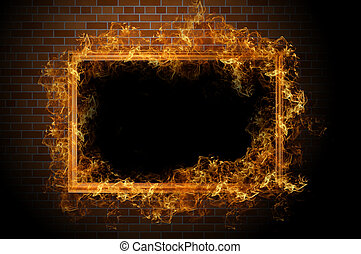 Empty frame with fire on the brick wall