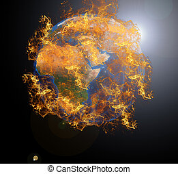 Earth planet at fire