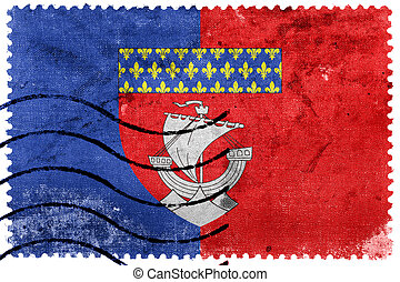 Flag of Paris with Coat of Arms (Escutcheon only), France,...