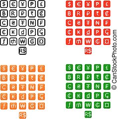 Set of 26 currencies - A set of 26 currency icon.