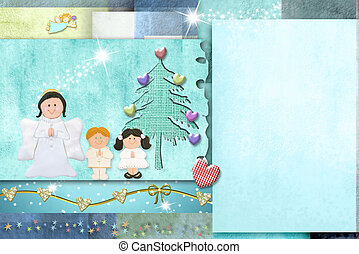 Cute child christmas card, copy space. - Illustration of...