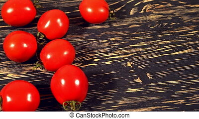 Tomato and pasta on wooden background