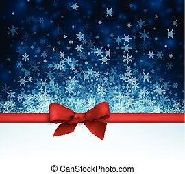 Winter background with red bow. - Blue winter background...
