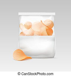 White Sealed Transparent Plastic Bag with Chips - Vector...
