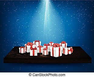 Blue background with gift boxes.