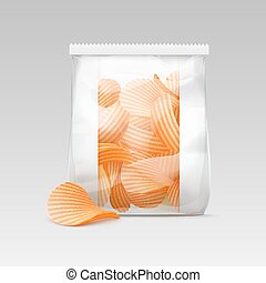 White Sealed Plastic Bag with Potato Crispy Chips - Vector...