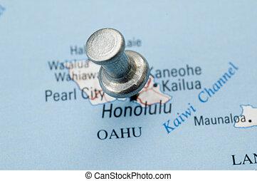 Thumbtack on Hawaii Map